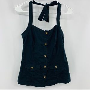 Old Navy Black Halter Top with Brown Buttons